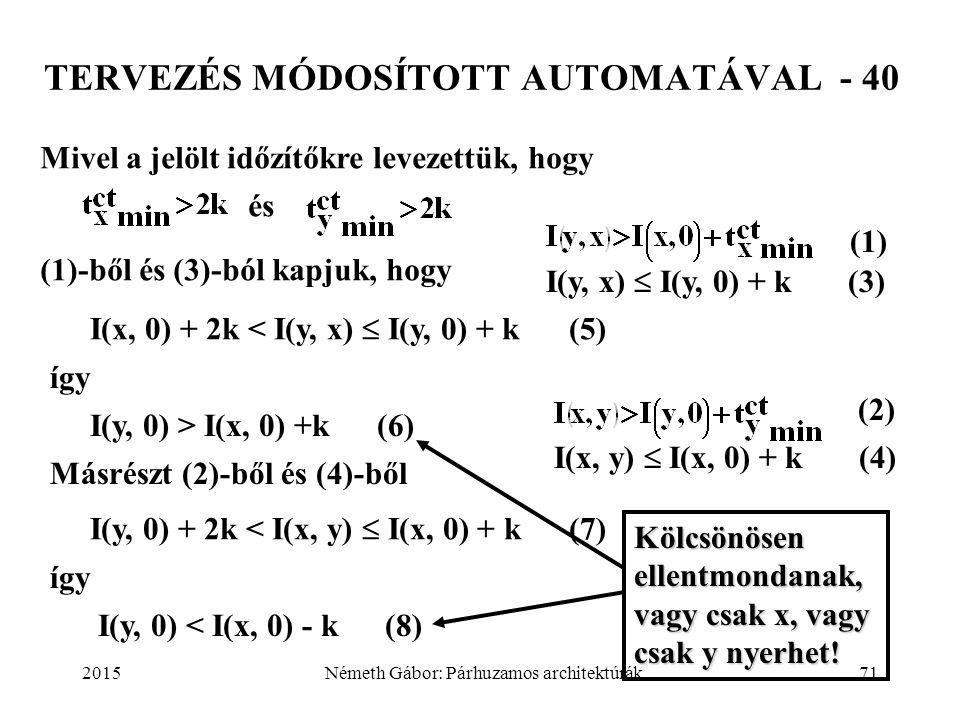 2015Németh Gábor: Párhuzamos architektúrák71 TERVEZÉS MÓDOSÍTOTT AUTOMATÁVAL - 40 Mivel a jelölt időzítőkre levezettük, hogy és (1)-ből és (3)-ból kap