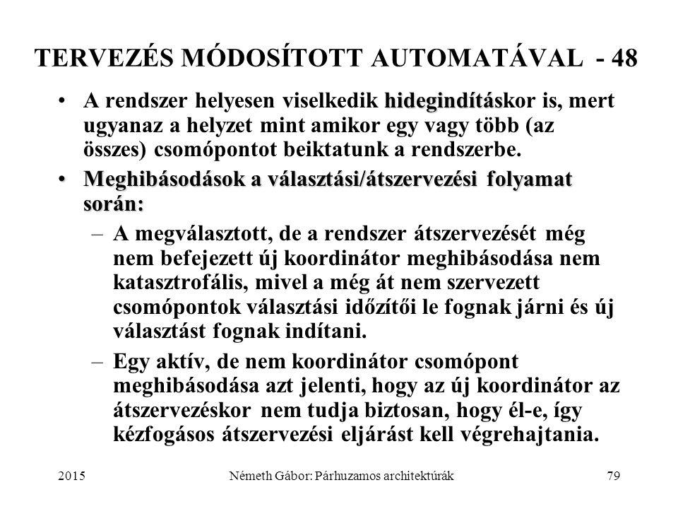 2015Németh Gábor: Párhuzamos architektúrák79 TERVEZÉS MÓDOSÍTOTT AUTOMATÁVAL - 48 hidegindításA rendszer helyesen viselkedik hidegindításkor is, mert