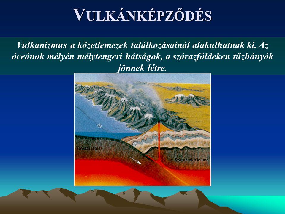 V ULKÁNKÉPZŐDÉS Vulkanizmus a kőzetlemezek találkozásainál alakulhatnak ki.