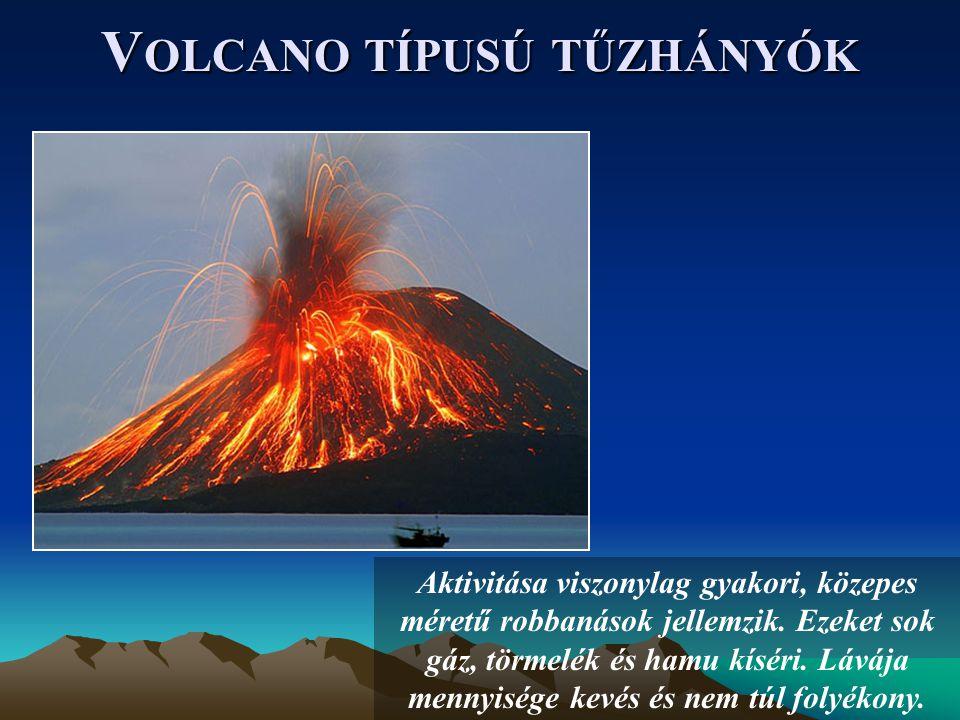 V OLCANO TÍPUSÚ TŰZHÁNYÓK Aktivitása viszonylag gyakori, közepes méretű robbanások jellemzik.