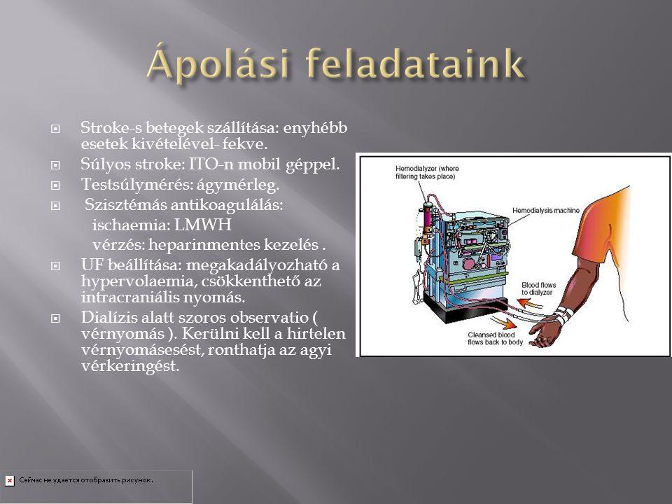  Stroke-s betegek szállítása: enyhébb esetek kivételével- fekve.  Súlyos stroke: ITO-n mobil géppel.  Testsúlymérés: ágymérleg.  Szisztémás antiko