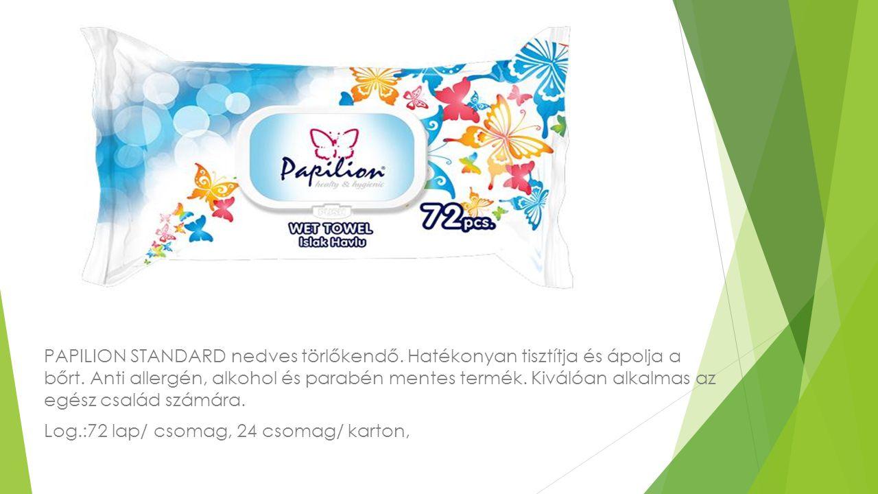 PAPILION STANDARD nedves törlőkendő. Hatékonyan tisztítja és ápolja a bőrt. Anti allergén, alkohol és parabén mentes termék. Kiválóan alkalmas az egés