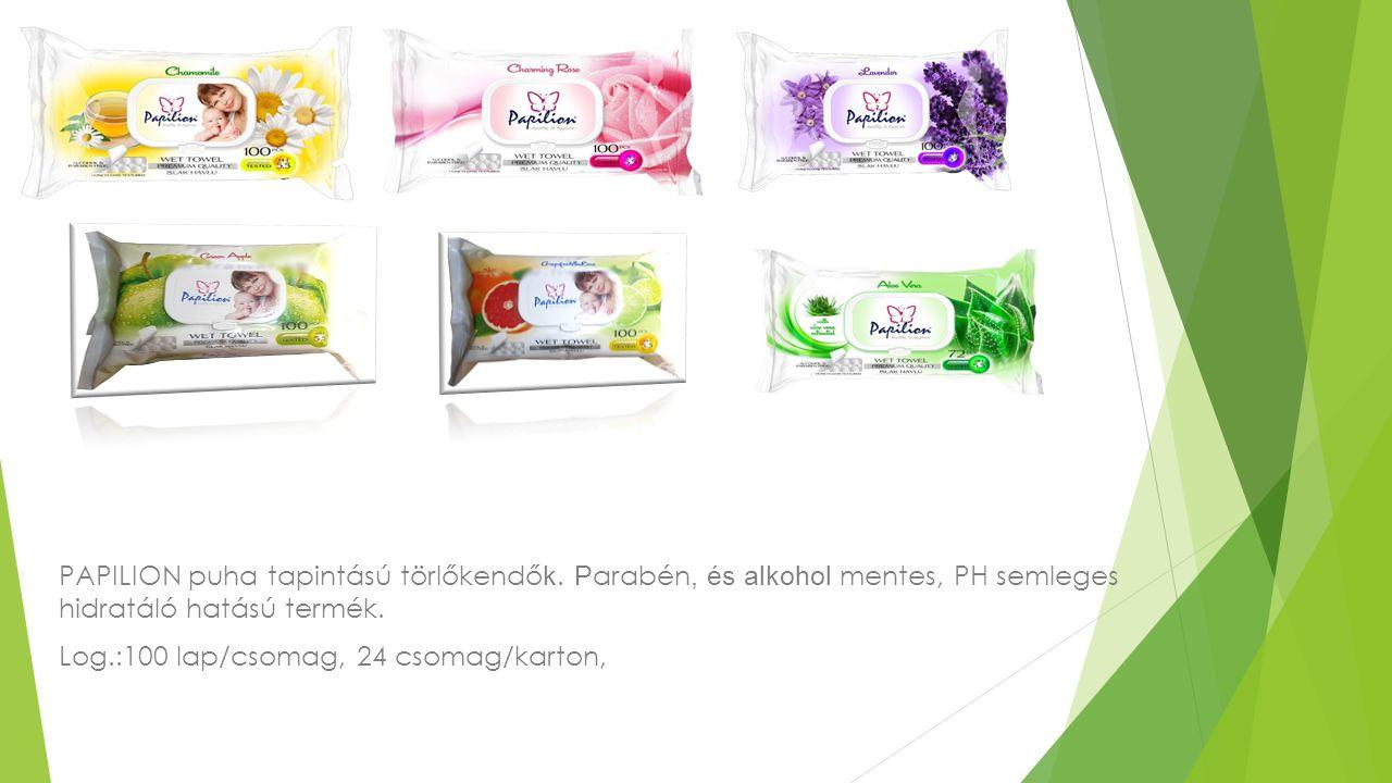 PAPILION puha tapintású törlőkendő k. P arabén, és alkohol mentes, PH semleges hidratáló hatású termék. Log.:100 lap/csomag, 24 csomag/karton,