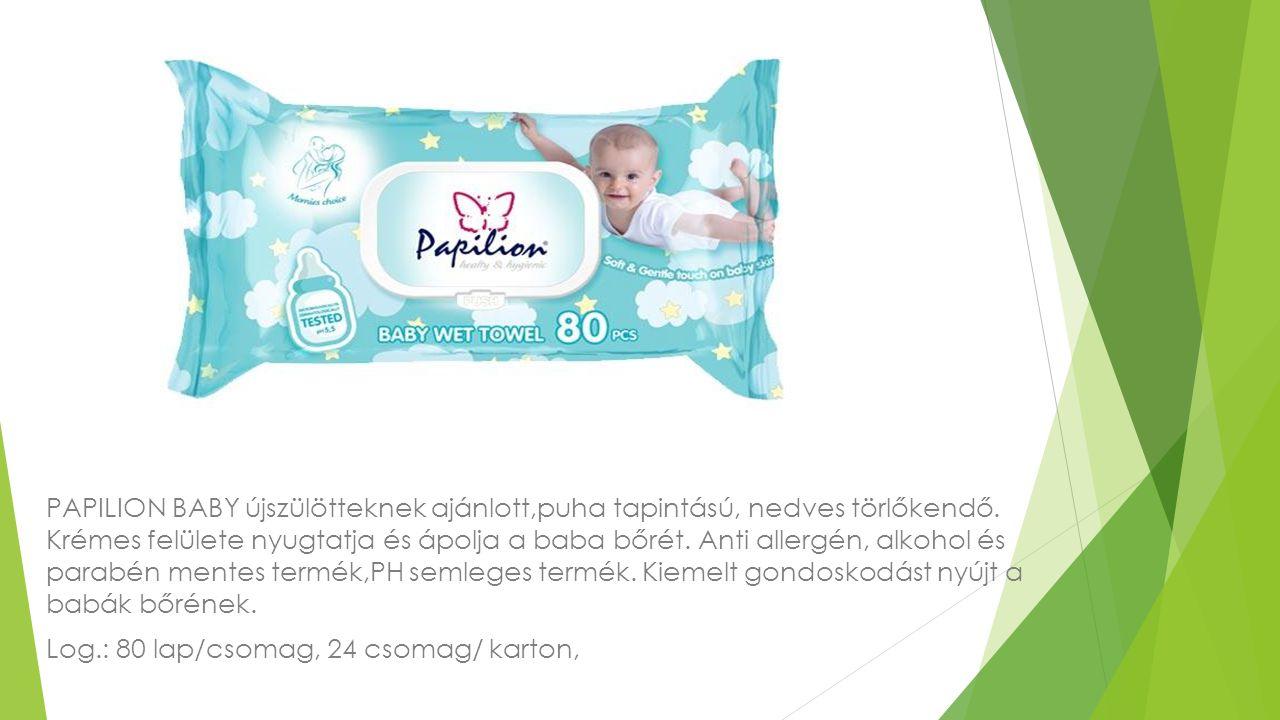 PAPILION BABY újszülötteknek ajánlott,puha tapintású, nedves törlőkendő. Krémes felülete nyugtatja és ápolja a baba bőrét. Anti allergén, alkohol és p