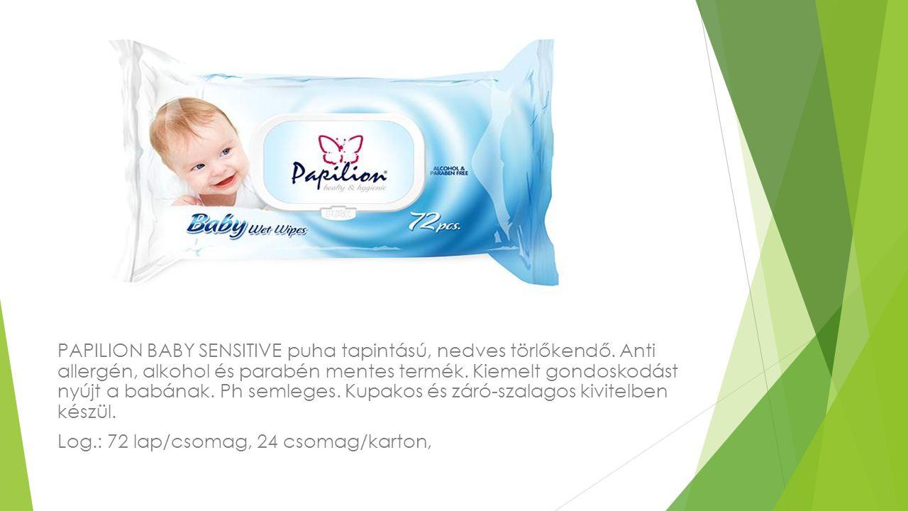 PAPILION BABY SENSITIVE puha tapintású, nedves törlőkendő. Anti allergén, alkohol és parabén mentes termék. Kiemelt gondoskodást nyújt a babának. Ph s