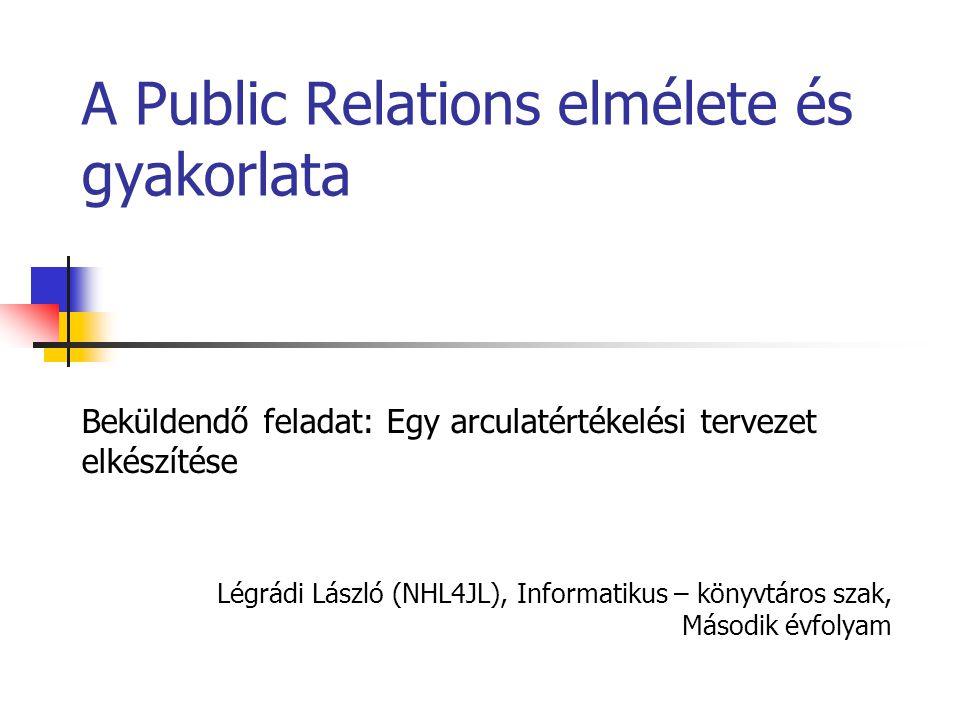 Légrádi László (NHL4JL), Informatikus – könyvtáros szak, Második évfolyam A Public Relations elmélete és gyakorlata Beküldendő feladat: Egy arculatértékelési tervezet elkészítése