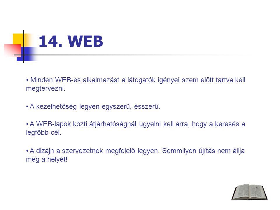 14. WEB Minden WEB-es alkalmazást a látogatók igényei szem előtt tartva kell megtervezni.