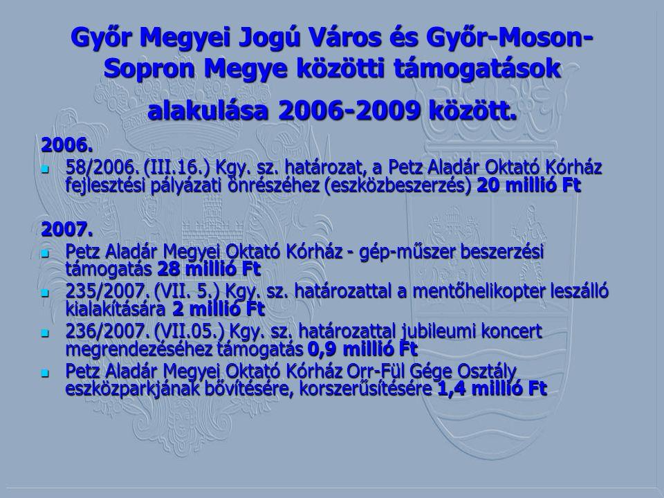 Győr Megyei Jogú Város és Győr-Moson- Sopron Megye közötti támogatások alakulása 2006-2009 között. 2006. 58/2006. (III.16.) Kgy. sz. határozat, a Petz