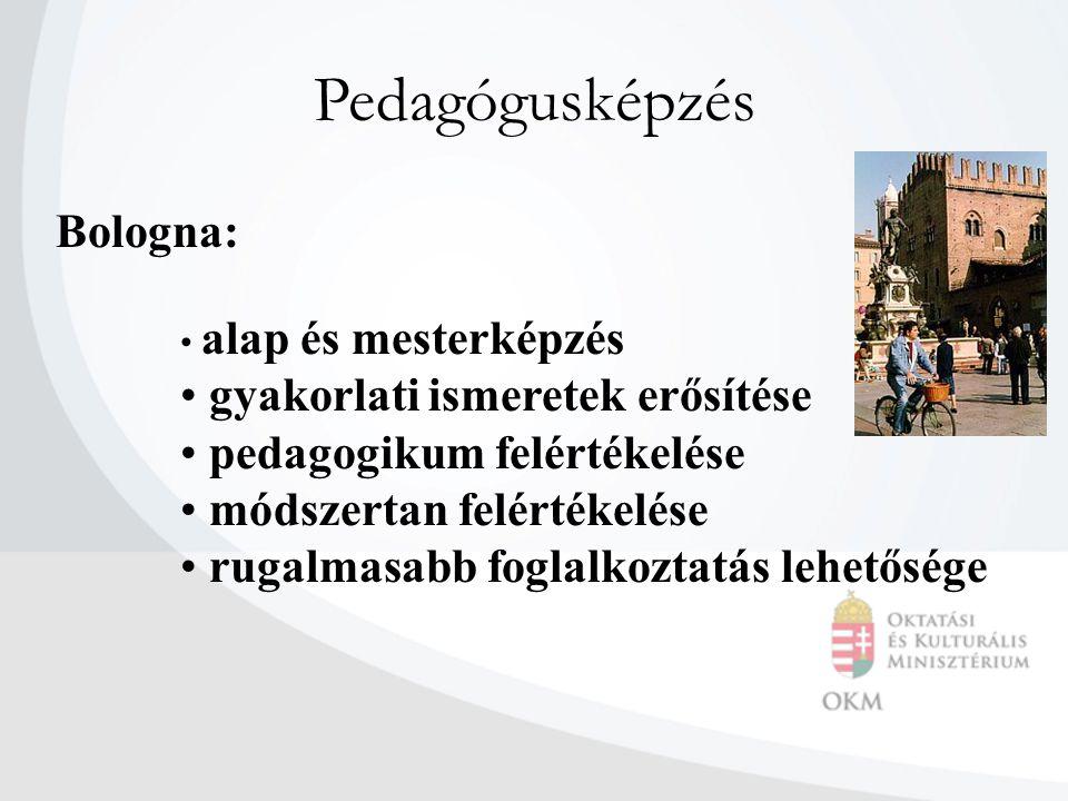 Pedagógusképzés Bologna: alap és mesterképzés gyakorlati ismeretek erősítése pedagogikum felértékelése módszertan felértékelése rugalmasabb foglalkozt