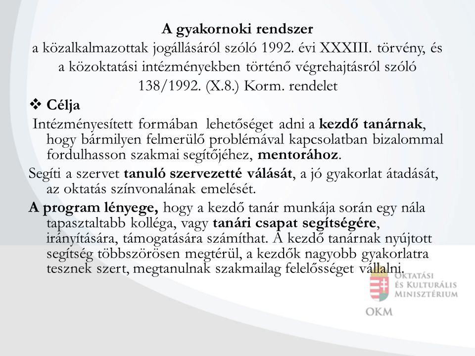 A gyakornoki rendszer a közalkalmazottak jogállásáról szóló 1992. évi XXXIII. törvény, és a közoktatási intézményekben történő végrehajtásról szóló 13