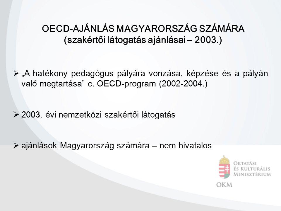 """OECD-AJÁNLÁS MAGYARORSZÁG SZÁMÁRA (szakértői látogatás ajánlásai – 2003.)  """"A hatékony pedagógus pályára vonzása, képzése és a pályán való megtartása"""