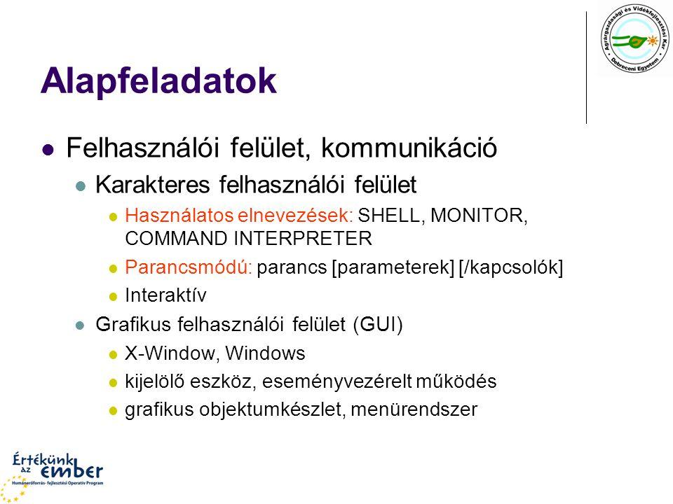 Alapfeladatok Felhasználói felület, kommunikáció Karakteres felhasználói felület Használatos elnevezések: SHELL, MONITOR, COMMAND INTERPRETER Parancsm