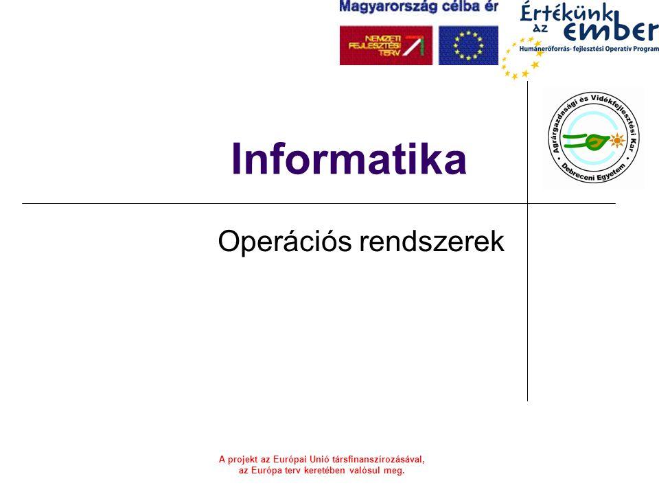 A projekt az Európai Unió társfinanszírozásával, az Európa terv keretében valósul meg. Informatika Operációs rendszerek