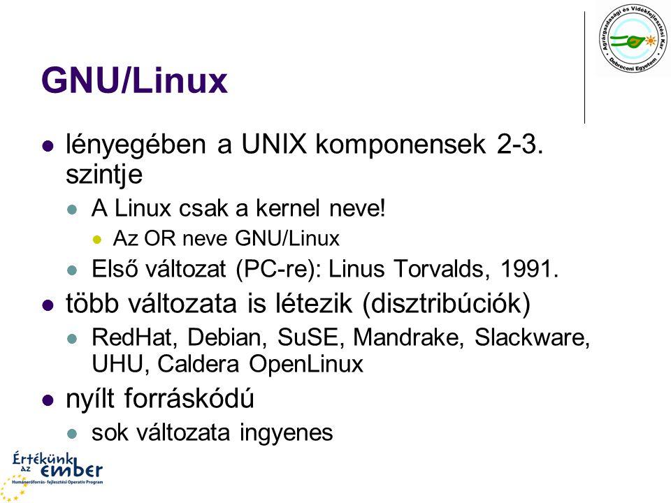 GNU/Linux lényegében a UNIX komponensek 2-3. szintje A Linux csak a kernel neve! Az OR neve GNU/Linux Első változat (PC-re): Linus Torvalds, 1991. töb