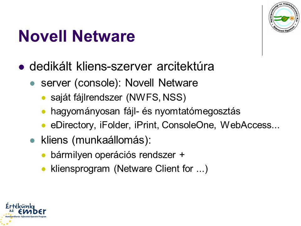 Novell Netware dedikált kliens-szerver arcitektúra server (console): Novell Netware saját fájlrendszer (NWFS, NSS) hagyományosan fájl- és nyomtatómego