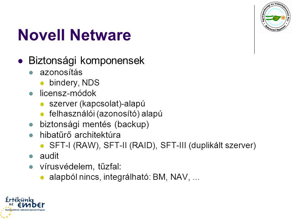 Novell Netware Biztonsági komponensek azonosítás bindery, NDS licensz-módok szerver (kapcsolat)-alapú felhasználói (azonosító) alapú biztonsági mentés