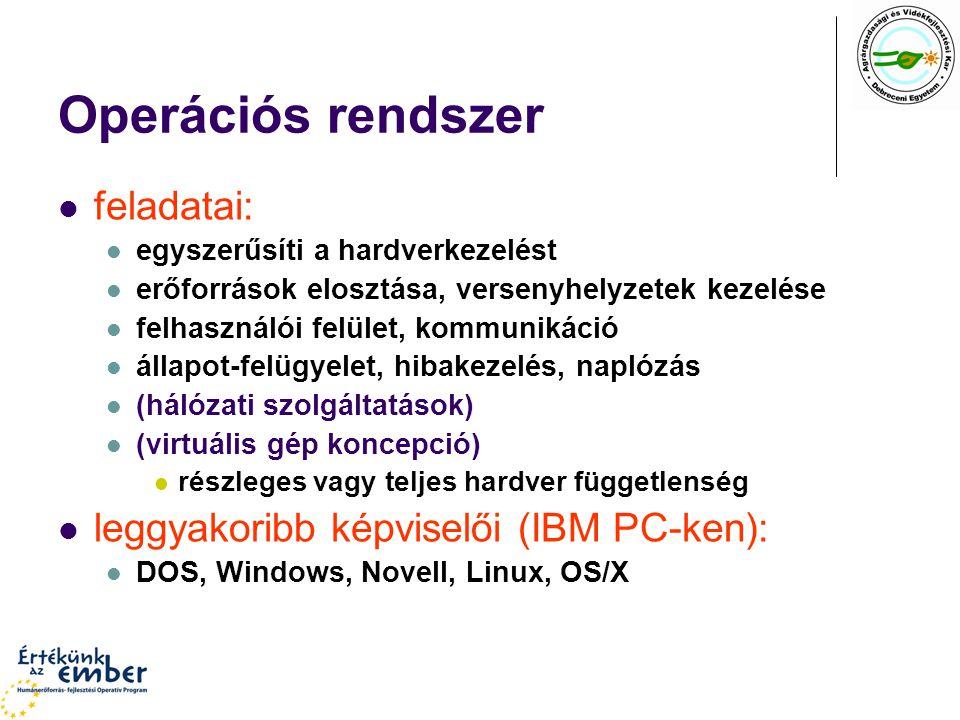 Alapfeladatok Felhasználói felület, kommunikáció Karakteres felhasználói felület Használatos elnevezések: SHELL, MONITOR, COMMAND INTERPRETER Parancsmódú: parancs [parameterek] [/kapcsolók] Interaktív Grafikus felhasználói felület (GUI) X-Window, Windows kijelölő eszköz, eseményvezérelt működés grafikus objektumkészlet, menürendszer