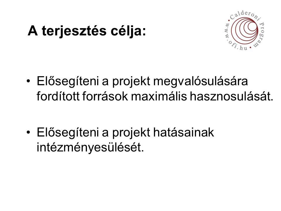 A terjesztés célja: Elősegíteni a projekt megvalósulására fordított források maximális hasznosulását.