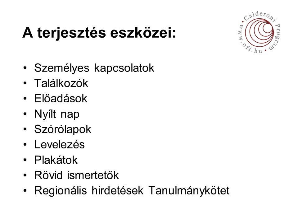 A terjesztés eszközei: Személyes kapcsolatok Találkozók Előadások Nyílt nap Szórólapok Levelezés Plakátok Rövid ismertetők Regionális hirdetések Tanulmánykötet