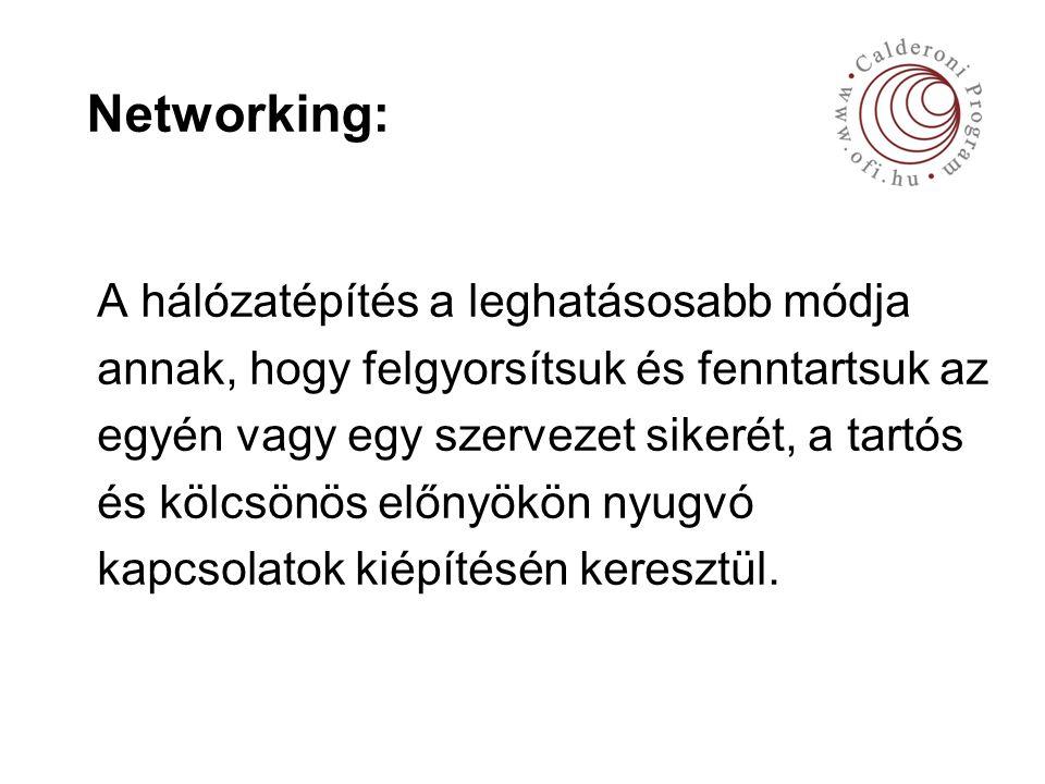 Networking: A hálózatépítés a leghatásosabb módja annak, hogy felgyorsítsuk és fenntartsuk az egyén vagy egy szervezet sikerét, a tartós és kölcsönös előnyökön nyugvó kapcsolatok kiépítésén keresztül.