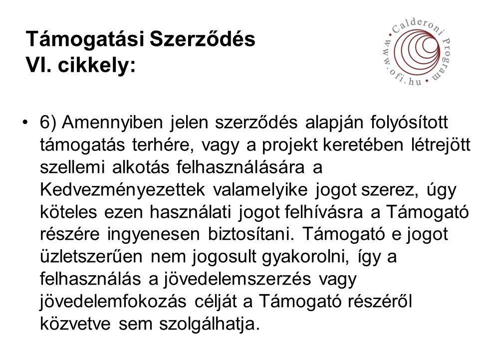 Támogatási Szerződés VI.