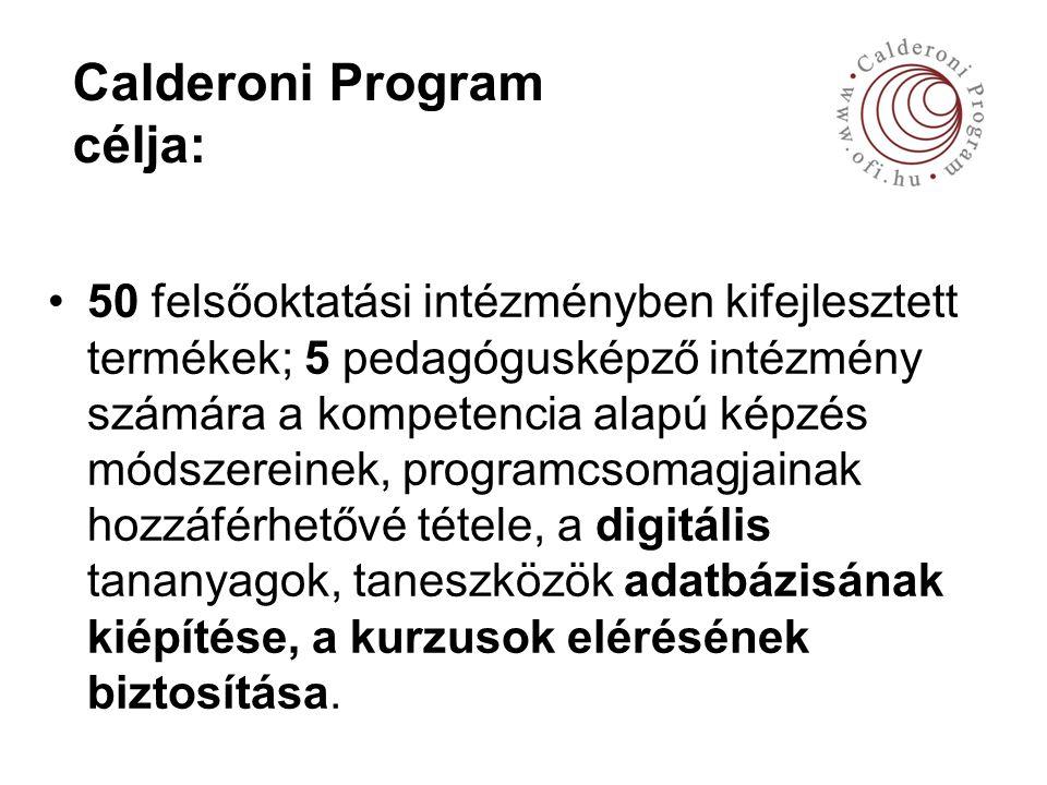 Calderoni Program célja: 50 felsőoktatási intézményben kifejlesztett termékek; 5 pedagógusképző intézmény számára a kompetencia alapú képzés módszereinek, programcsomagjainak hozzáférhetővé tétele, a digitális tananyagok, taneszközök adatbázisának kiépítése, a kurzusok elérésének biztosítása.