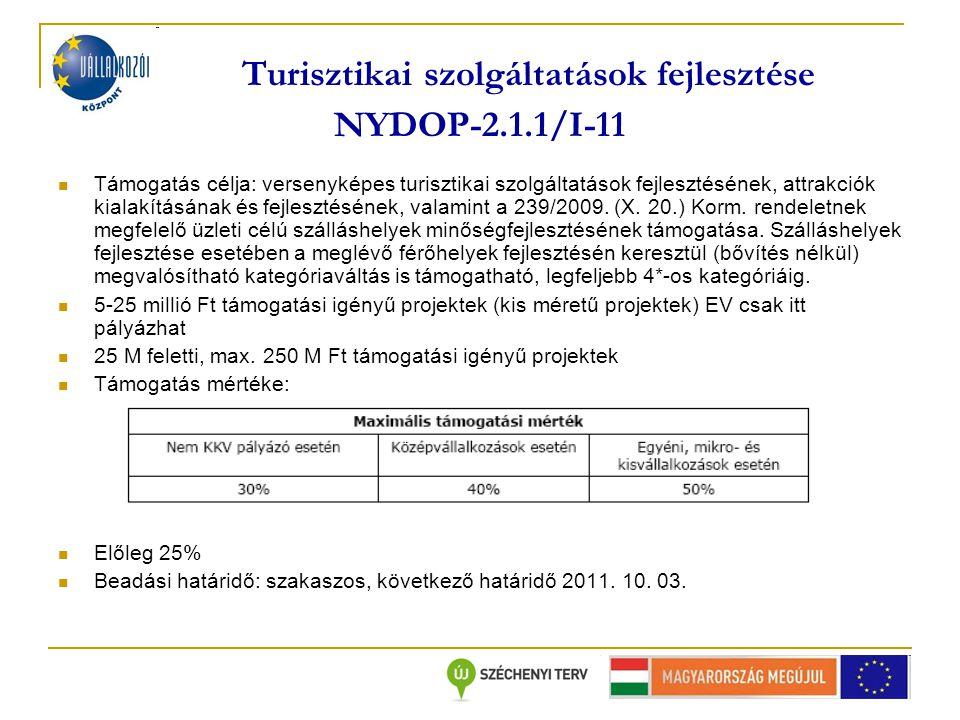 Turisztikai szolgáltatások fejlesztése NYDOP-2.1.1/I-11 Támogatás célja: versenyképes turisztikai szolgáltatások fejlesztésének, attrakciók kialakításának és fejlesztésének, valamint a 239/2009.