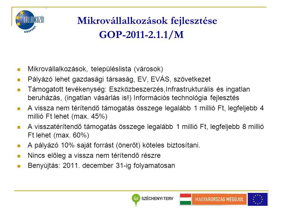 Mikrovállalkozások fejlesztése GOP-2011-2.1.1/M Mikrovállalkozások, településlista (városok) Pályázó lehet gazdasági társaság, EV, EVÁS, szövetkezet Támogatott tevékenység: Eszközbeszerzés,Infrastrukturális és ingatlan beruházás, (ingatlan vásárlás is!) Információs technológia fejlesztés A vissza nem térítendő támogatás összege legalább 1 millió Ft, legfeljebb 4 millió Ft lehet (max.