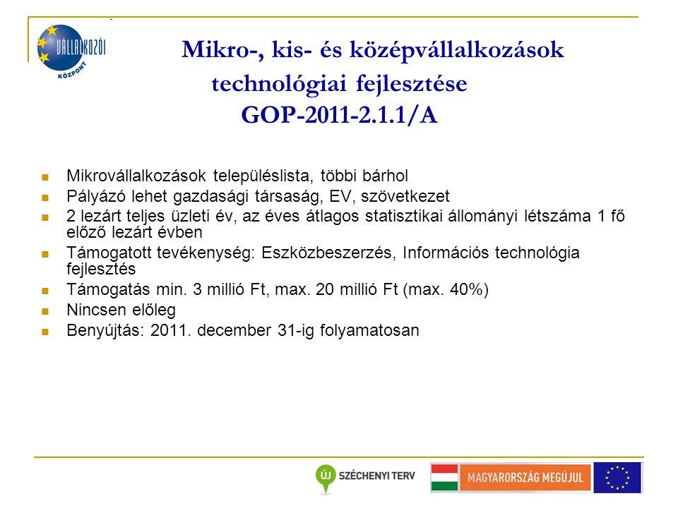 Mikro-, kis- és középvállalkozások technológiai fejlesztése GOP-2011-2.1.1/A Mikrovállalkozások településlista, többi bárhol Pályázó lehet gazdasági társaság, EV, szövetkezet 2 lezárt teljes üzleti év, az éves átlagos statisztikai állományi létszáma 1 fő előző lezárt évben Támogatott tevékenység: Eszközbeszerzés, Információs technológia fejlesztés Támogatás min.