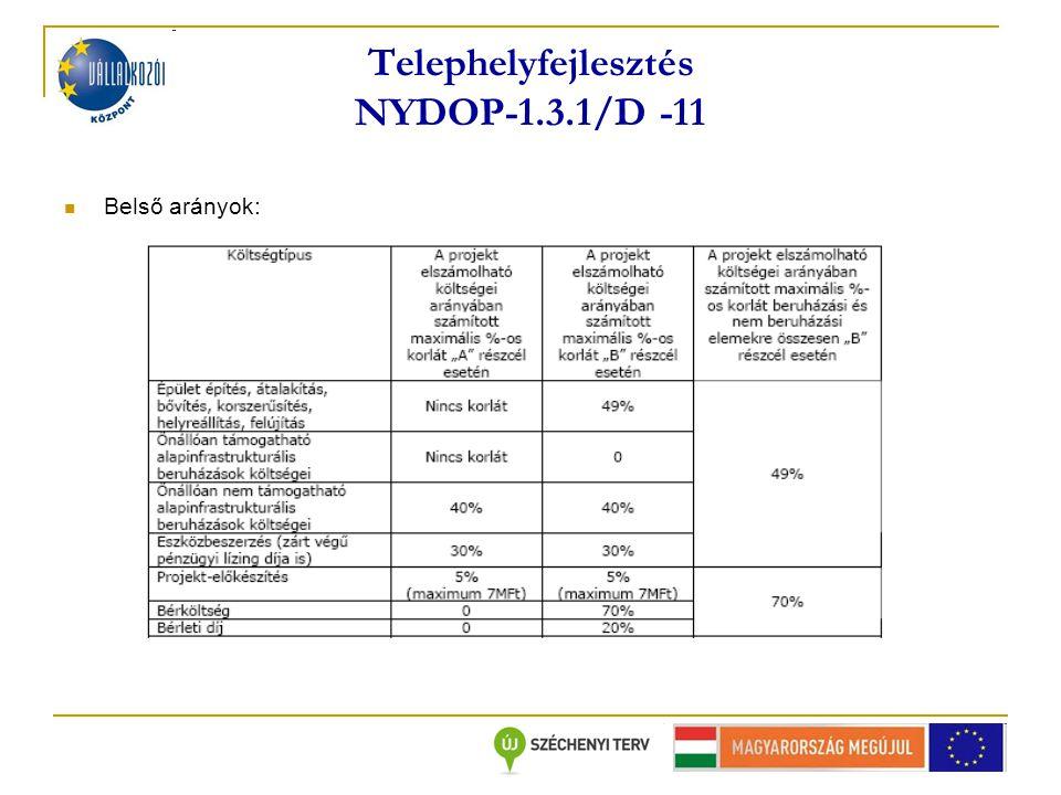 Telephelyfejlesztés NYDOP-1.3.1/D -11 Belső arányok: