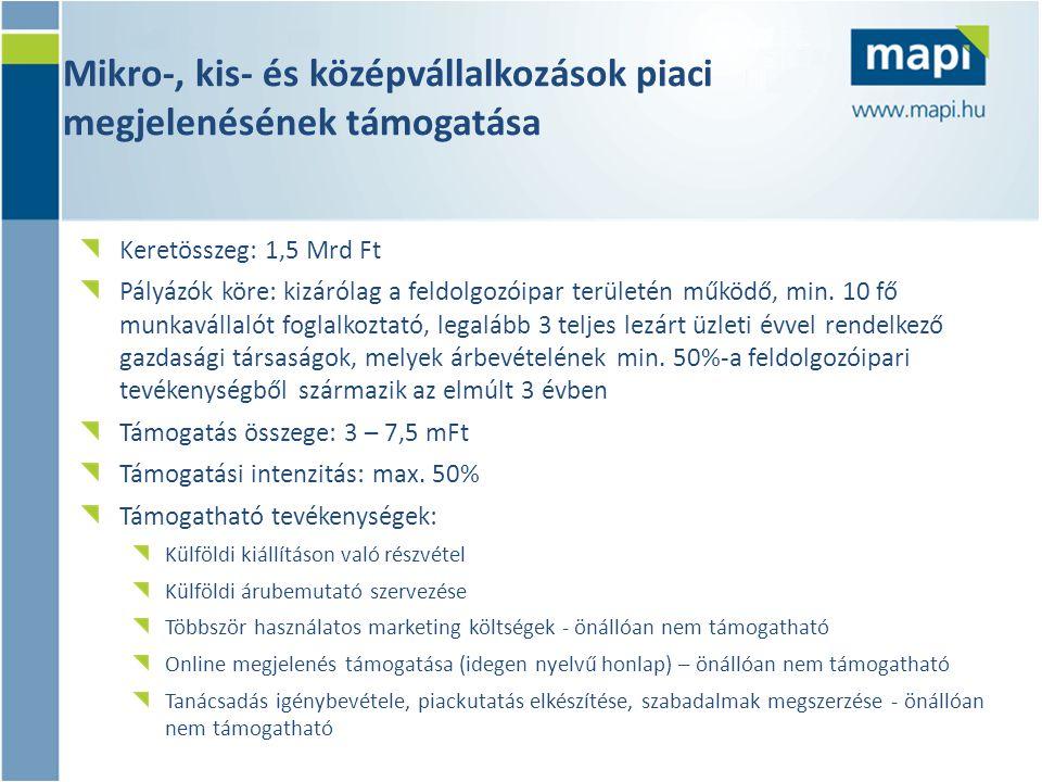 Mikro-, kis- és középvállalkozások piaci megjelenésének támogatása Keretösszeg: 1,5 Mrd Ft Pályázók köre: kizárólag a feldolgozóipar területén működő, min.