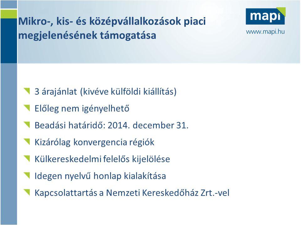 Mikro-, kis- és középvállalkozások piaci megjelenésének támogatása 3 árajánlat (kivéve külföldi kiállítás) Előleg nem igényelhető Beadási határidő: 2014.
