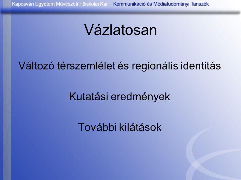 Vázlatosan Változó térszemlélet és regionális identitás Kutatási eredmények További kilátások