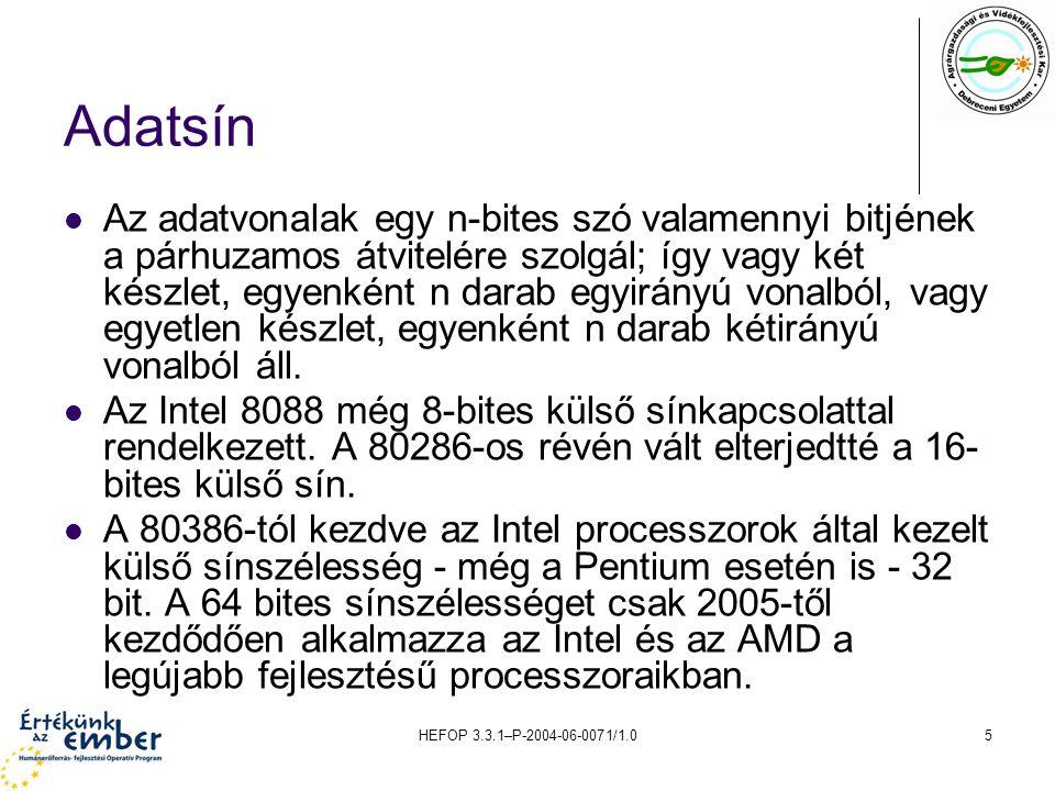 HEFOP 3.3.1–P-2004-06-0071/1.06 Címsín A címvonalak az eszközök címzésére szolgálnak.