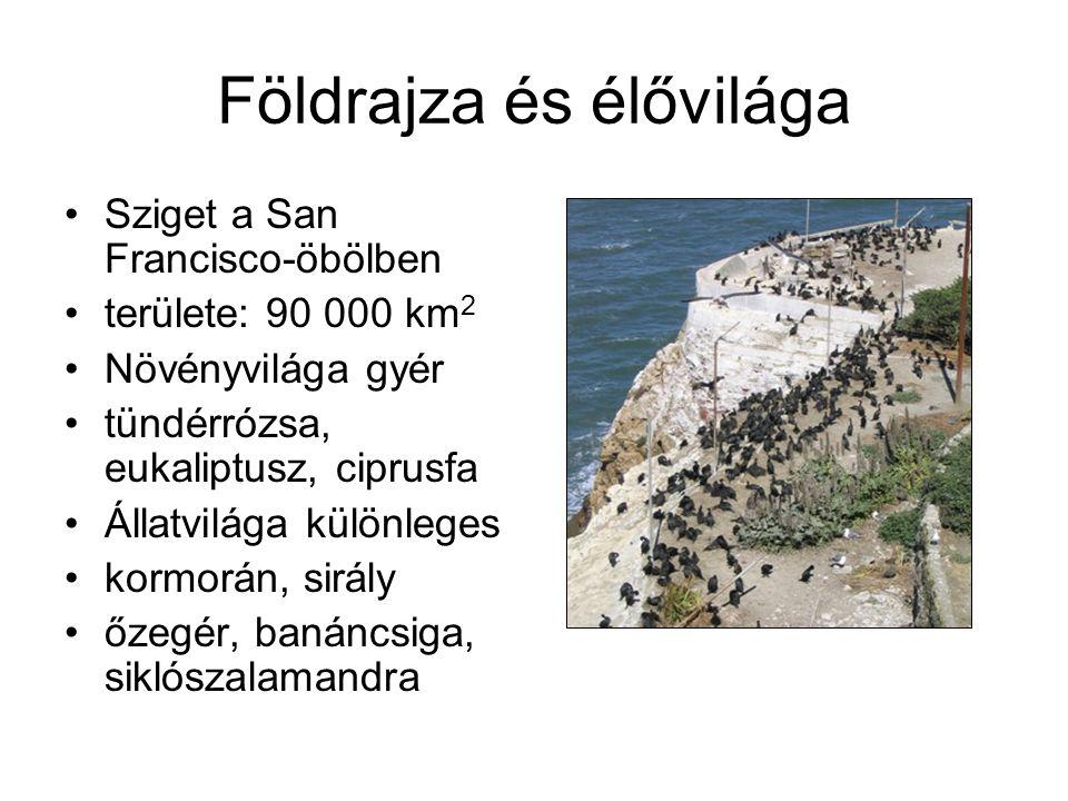 Földrajza és élővilága Sziget a San Francisco-öbölben területe: 90 000 km 2 Növényvilága gyér tündérrózsa, eukaliptusz, ciprusfa Állatvilága különleges kormorán, sirály őzegér, banáncsiga, siklószalamandra