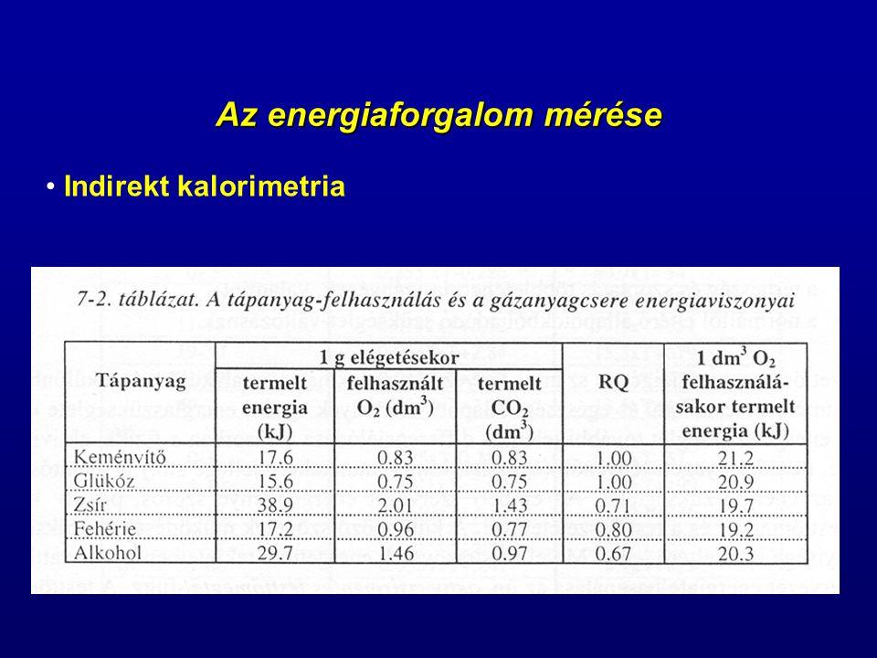 Az energiaforgalom mérése Indirekt kalorimetria