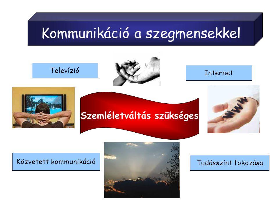 Kommunikáció a szegmensekkel Szemléletváltás szükséges Tudásszint fokozása Televízió Internet Közvetett kommunikáció