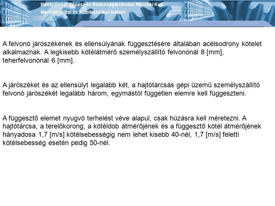 Bánki Donát Gépész és Biztonságtechnikai Mérnöki Kar Mechatronikai és Autótechnikai Intézet A felvonó járószékének és ellensúlyának függesztésére álta