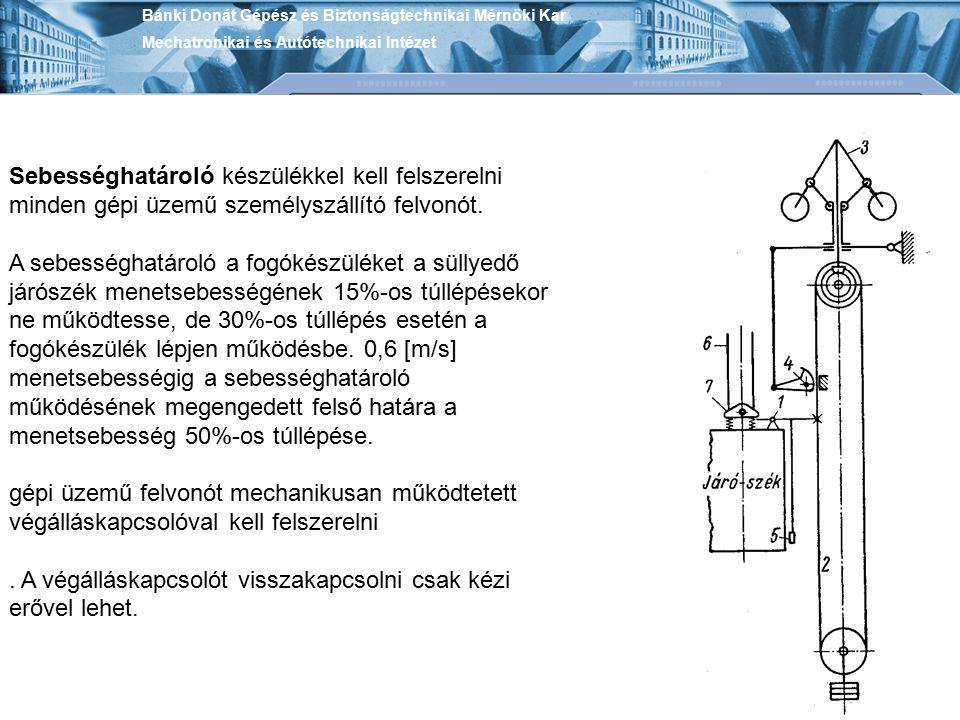 Sebességhatároló készülékkel kell felszerelni minden gépi üzemű személyszállító felvonót. A sebességhatároló a fogókészüléket a süllyedő járószék mene