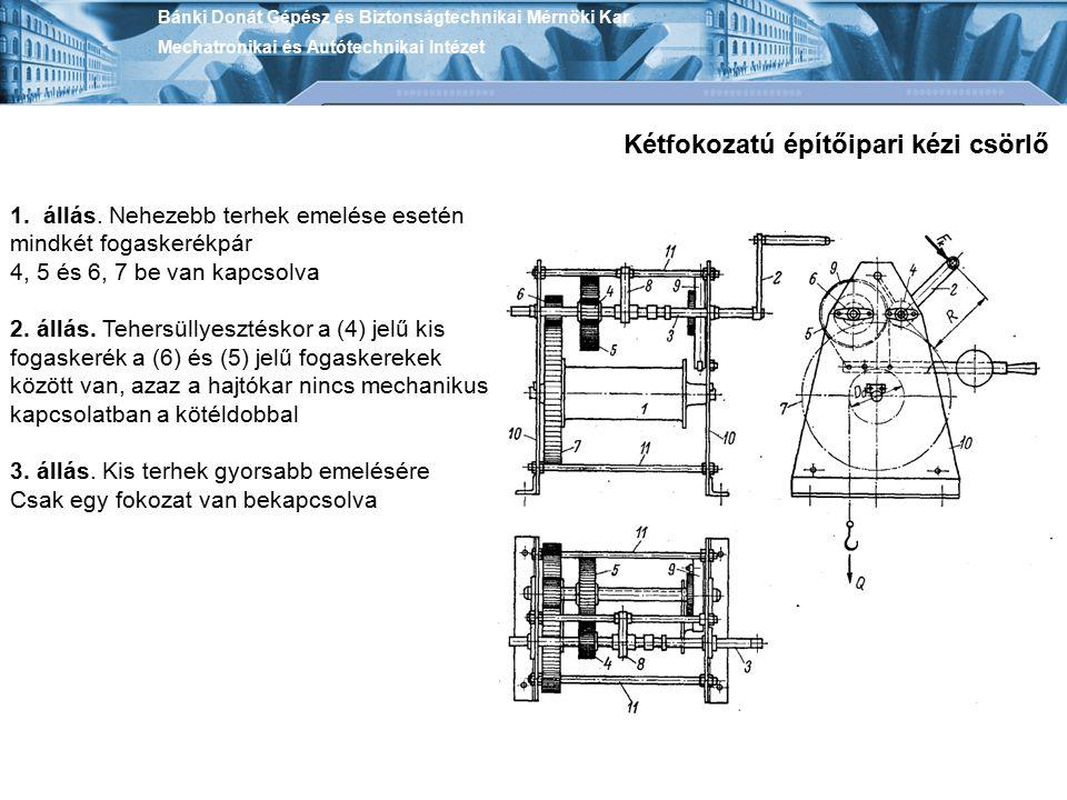 Bánki Donát Gépész és Biztonságtechnikai Mérnöki Kar Mechatronikai és Autótechnikai Intézet Kétfokozatú építőipari kézi csörlő 1. állás. Nehezebb terh