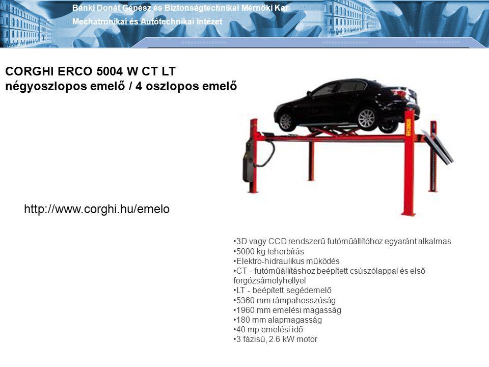 3D vagy CCD rendszerű futóműállítóhoz egyaránt alkalmas 5000 kg teherbírás Elektro-hidraulikus működés CT - futóműállításhoz beépített csúszólappal és