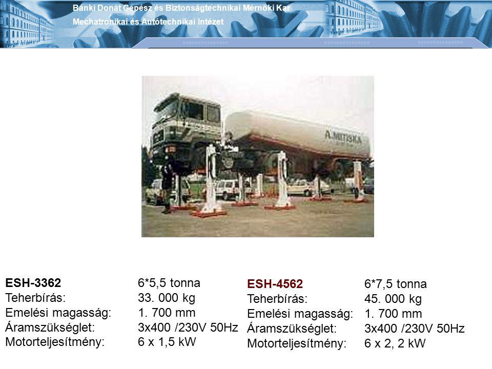 ESH-3362 Teherbírás: Emelési magasság: Áramszükséglet: Motorteljesítmény: 6*5,5 tonna 33. 000 kg 1. 700 mm 3x400 /230V 50Hz 6 x 1,5 kW ESH-4562 Teherb