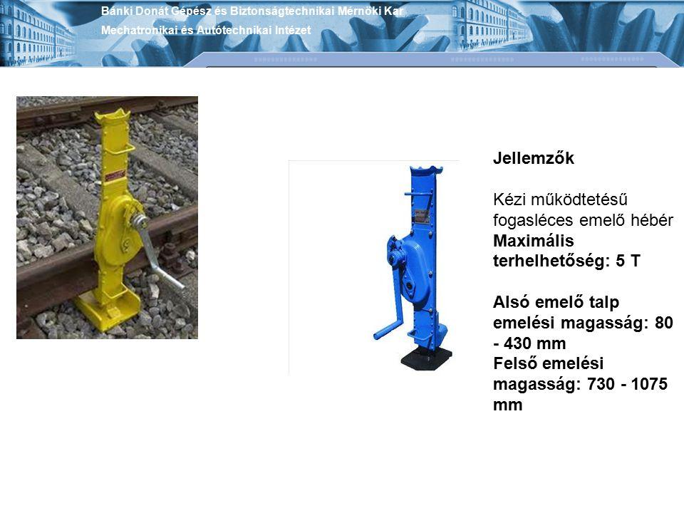 Jellemzők Kézi működtetésű fogasléces emelő hébér Maximális terhelhetőség: 5 T Alsó emelő talp emelési magasság: 80 - 430 mm Felső emelési magasság: 7
