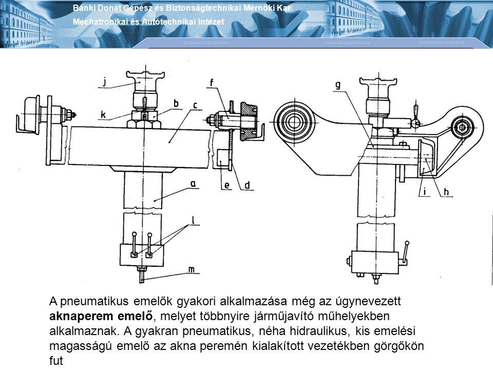 Bánki Donát Gépész és Biztonságtechnikai Mérnöki Kar Mechatronikai és Autótechnikai Intézet A pneumatikus emelők gyakori alkalmazása még az úgynevezet