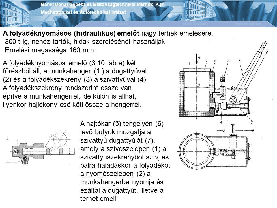 Bánki Donát Gépész és Biztonságtechnikai Mérnöki Kar Mechatronikai és Autótechnikai Intézet A folyadéknyomásos (hidraulikus) emelőt nagy terhek emelés