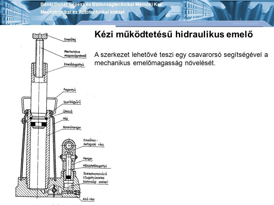 Bánki Donát Gépész és Biztonságtechnikai Mérnöki Kar Mechatronikai és Autótechnikai Intézet Kézi működtetésű hidraulikus emelő A szerkezet lehetővé te