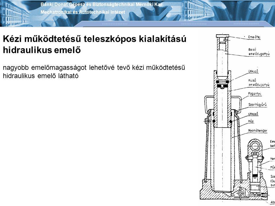 Bánki Donát Gépész és Biztonságtechnikai Mérnöki Kar Mechatronikai és Autótechnikai Intézet Kézi működtetésű teleszkópos kialakítású hidraulikus emelő