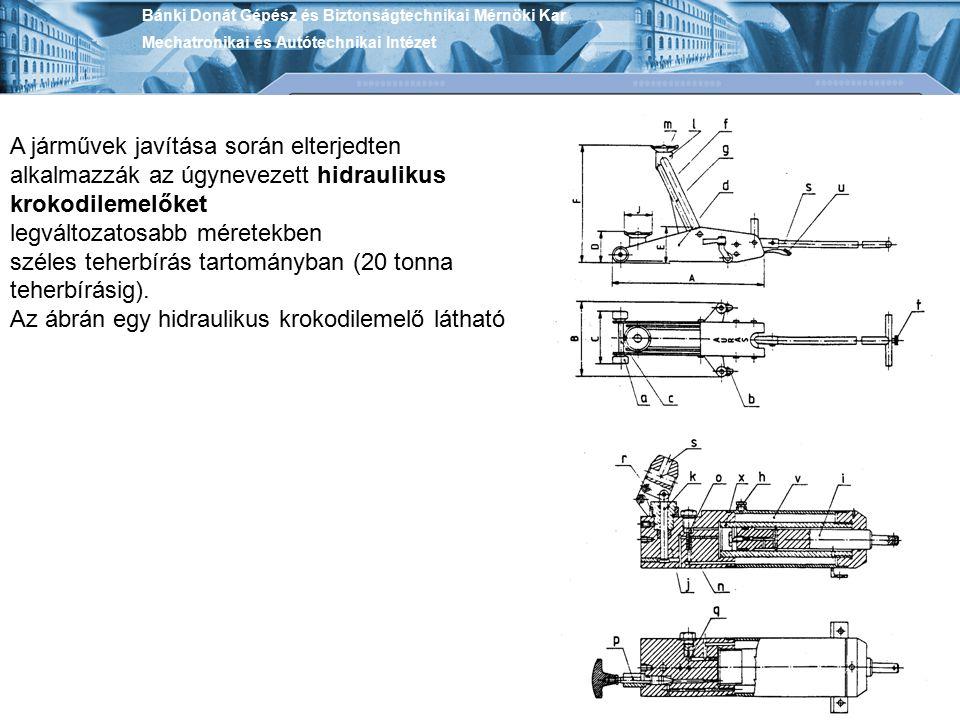 Bánki Donát Gépész és Biztonságtechnikai Mérnöki Kar Mechatronikai és Autótechnikai Intézet A járművek javítása során elterjedten alkalmazzák az úgyne