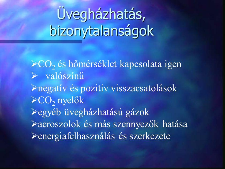 Üvegházhatás, bizonytalanságok  CO 2 és hőmérséklet kapcsolata igen  valószínű  negatív és pozitív visszacsatolások  CO 2 nyelők  egyéb üvegházhatású gázok  aeroszolok és más szennyezők hatása  energiafelhasználás és szerkezete