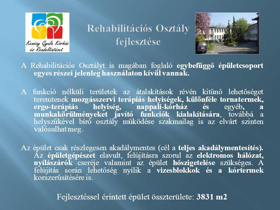 A Rehabilitációs Osztályt is magában foglaló egybefüggő épületcsoport egyes részei jelenleg használaton kívül vannak.